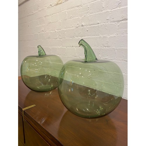 35 - OVERSIZED GLASS APPLES, a pair, Murano style hand blown glass, approx 35cm H x 29cm. (2)