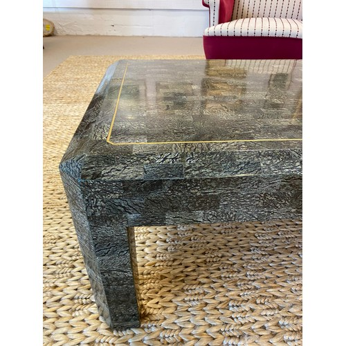 60 - MAITLAND SMITH ATTRIBUTED LOW TABLE, 1980's tessellated stone and brass inlaid, 42cm H x 115cm x 66c...