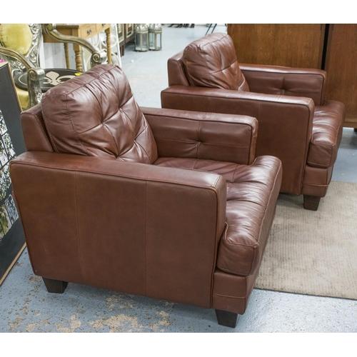 63 - ARMCHAIRS, contemporary, a pair, stitched brown leather, 84cm H x 86cm W x 97cm D. (slight faults) (...