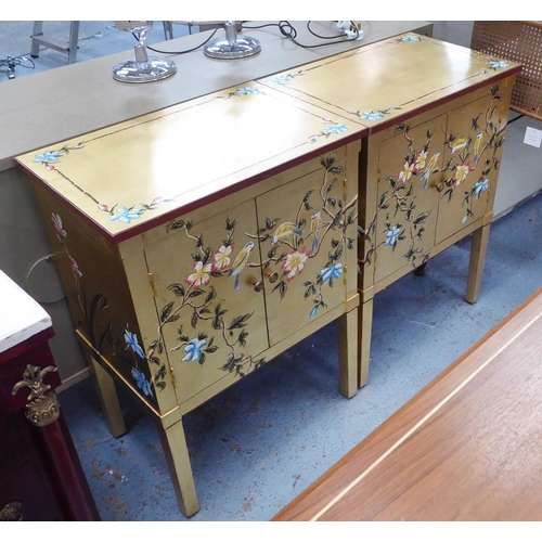 79 - SIDE CABINETS, a pair, gilt finish with Oriental style design, 60.5cm x 40cm x 83cm. (2)