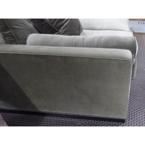 81 - CINEMA ROOM SOFA, contemporary, green velvet upholstered, 282cm W approx. (slight faults)