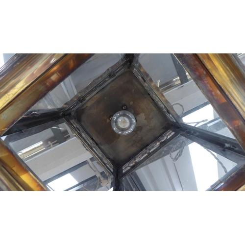 85 - CHARLES EDWARDS SMALL HANGING CAST PAGODA LANTERN, 45cm H.