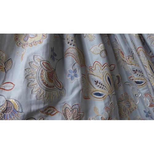27 - CURTAINS, two pairs, lined and interlined, the blue field with embroidered detail and tan velvet lea...