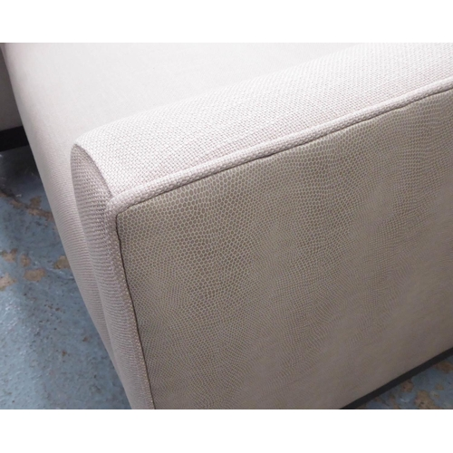 33 - ARMCHAIRS, a pair, contemporary grey fabric with faux snake skin exterior, 72cm x 82cm x 90cm. (2)