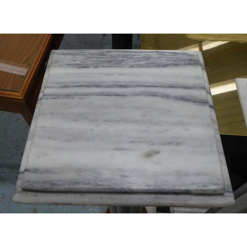 34 - MARBLE COLUMNS, a pair, of reeded form with gilt mounts to base, 110cm H x 26cm x 26cm. (2) (very sm...