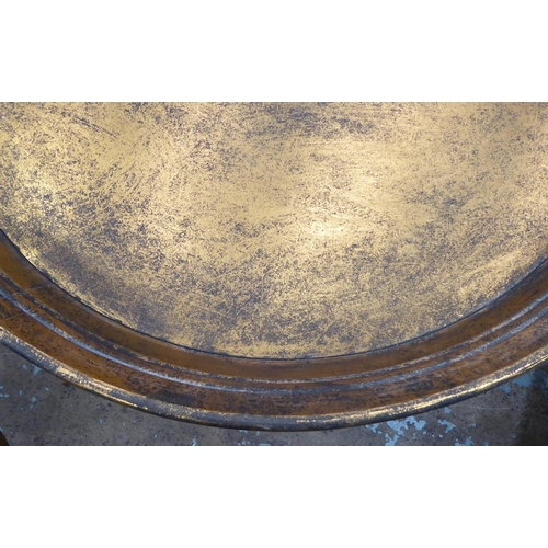 37 - SIDE TABLES, a pair, antiqued champagne, gold finish, 66cm x 66cm Diam. (2)