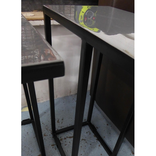 39 - SIDE TABLES, a pair, grey enamelled tops on painted black metal supports, 43cm x 20cm x 51.5cm.
