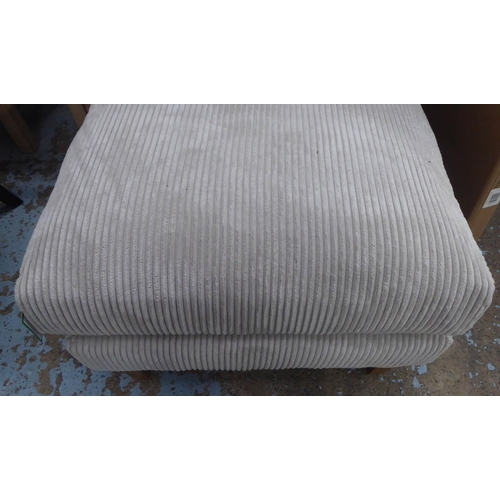 41 - OTTOMAN, contemporary grey corduroy upholstered, 70cm x 80cm x 50cm.
