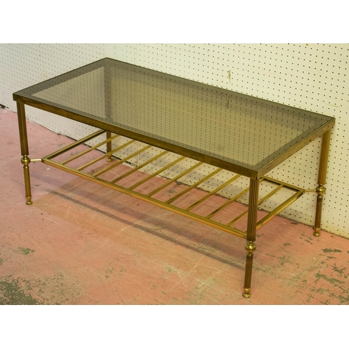 65 - MAISON JANSEN STYLE LOW TABLE, brass framed with rectangular tinted glass top, 41cm H x 91cm W x 46c...