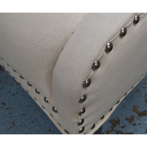 9 - SIDE CHAIR, contemporary design, white fabric with studded detail, 90cm H. (slight faults)