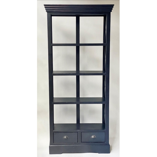 91 - OPEN BOOKCASE, black painted with trellis sides and two drawers, 193cm H x 90cm x 30cm.