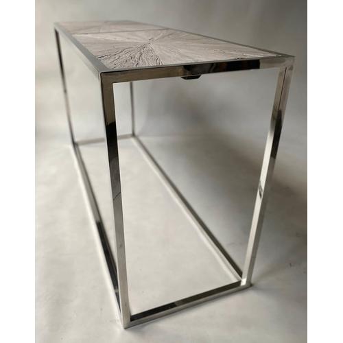 92 - CONSOLE TABLE, rectangular chrome framed with radial driftwood panels, 160cm x 50cm x 87cm H.