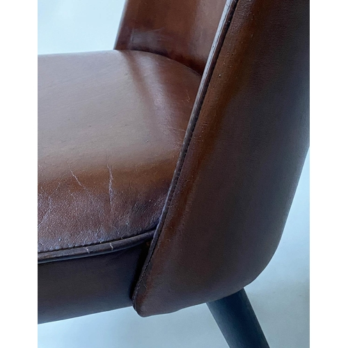 93 - DINING CHAIRS, a set of four, 1970's Danish tan brown hide upholstered with tapering supports with b...