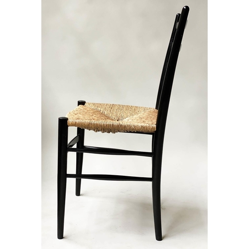 95 - DINING CHAIRS, a set of four, 1970's Sussex style black lacquer and rush seated, 85cm H. (4)