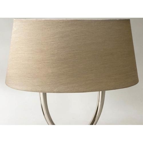 96 - TABLE LAMPS, a pair, chrome crossed horns on black lacquer plinths, 59cm H. (2)
