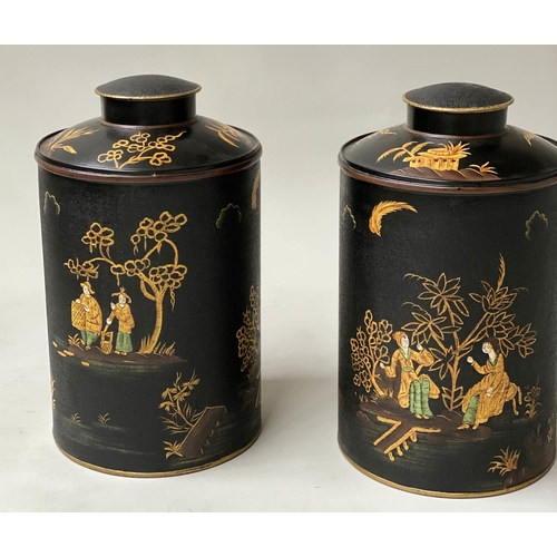 97 - TEA CANISTERS, a pair, 18th century style black lacquer in colonial style with rural images and lids...