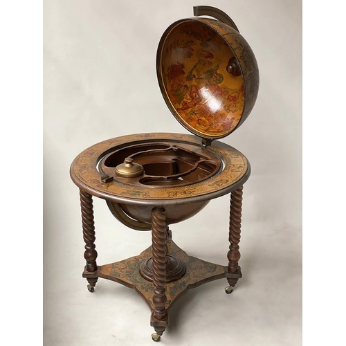100 - GLOBE COCKTAIL CABINET, in the form of an antique terrestrial globe on stand with rising lid and fit...