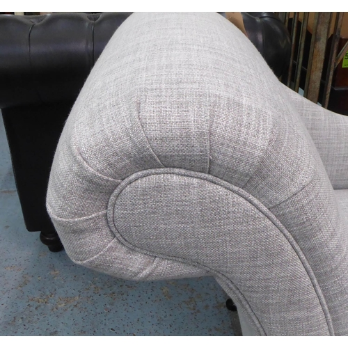 12 - CHAISE LONGUE, grey fabric upholstered, ebonised supports, 160cm x 64cm x 85cm.
