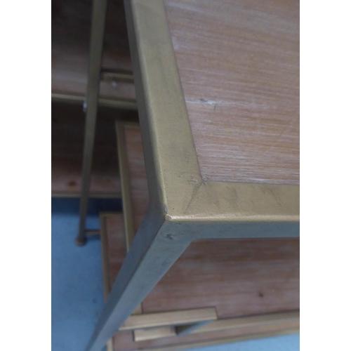 58 - ETAGERES, a pair, contemporary design, gilt metal, 120cm x 35cm x 80cm. (2)
