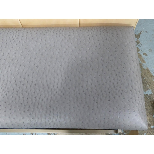 49 - WINDOW SEAT, upholstered in a faux ostrich leather, to match previous lot, 120cm x 41cm x 54cm.