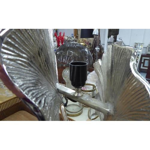 50 - TOMMASO BARBI STYLE TABLE LAMP, Gingko leaf design, 77cm H.