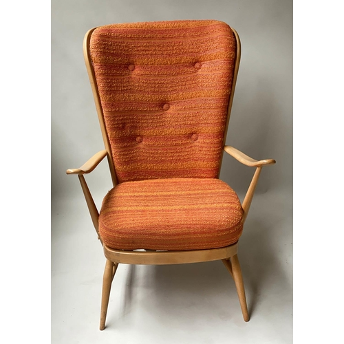 54 - ERCOL EVERGREEN CHAIR BY LUCIANO ERCOLANI, 1970's beech and elm bentwood with stick back, 73cm W.
