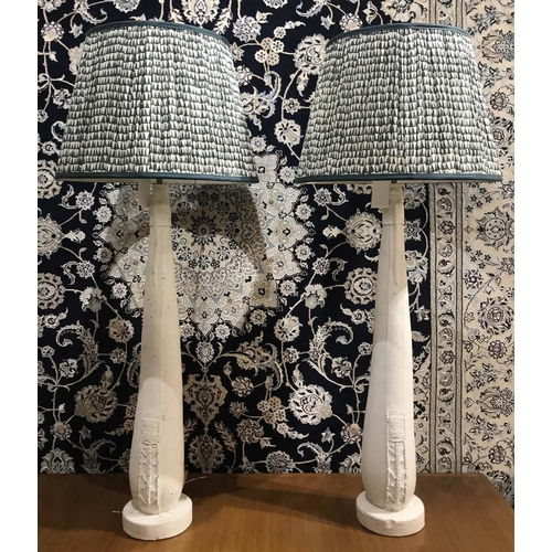 80 - MANNER OF JOHN DICKINSON TABLE LAMPS, a pair, with Pooky shades, 111cm H approx. (2)