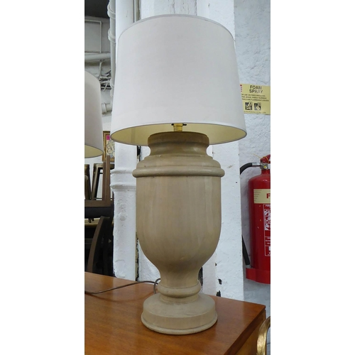 2 - TABLE LAMPS, a pair, turned wood, with shades, 72cm H. (2) (slight faults)