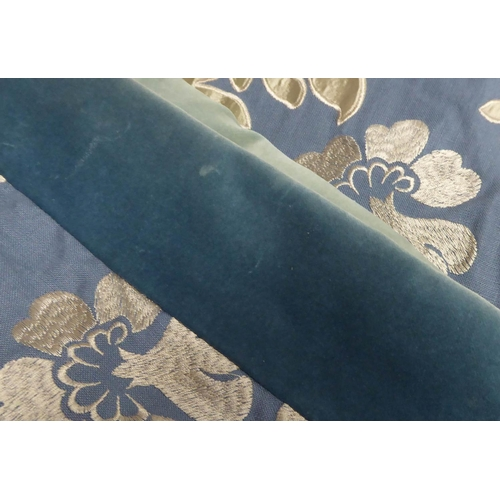 28 - CURTAINS, two pairs, lined and interlined, blue patterned fabric with blue velvet leading edge, 100c...