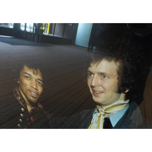 66 - JIMI HENDRIX with ERIC CLAPTON on the stairs of the Speakeasy Club in Margaret St, London, W1, with ...