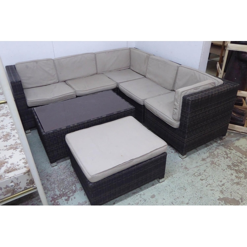 5 - GARDEN CORNER SOFA AND ASSOCIATED DRINKS TABLE , contemporary with cushions, 204cm x 202cm x 69cm. (...