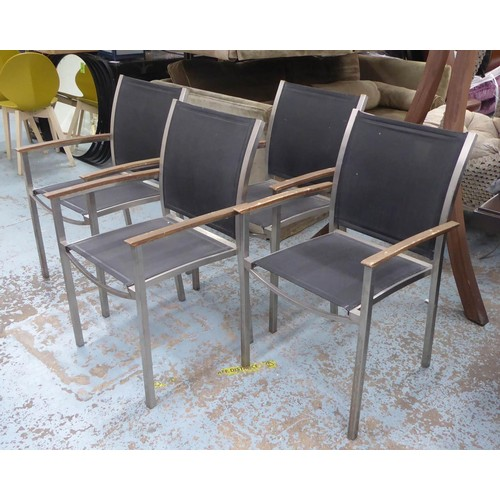1 - WESTMINSTER GARDEN DINING SET, including table and four chairs, table 150cm x 60cm x 74.5cm. (4) (wi...