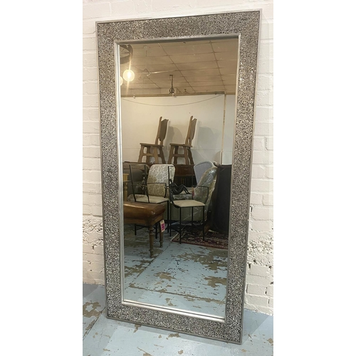 DRESSING MIRROR, contemporary glass inlaid mosaic frame, 170cm x 82.5cm. (with faults)