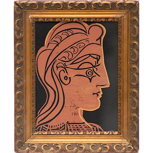 PABLO PICASSO 'Female Head in Profile', linocut, 1962, suite: Linogravures, 26cm x 20cm, framed and glazed.