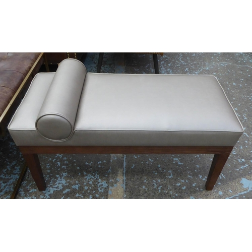 16 - WINDOW SEAT, contemporary design with bolster cushion detail, 88cm x 41cm x 51cm....