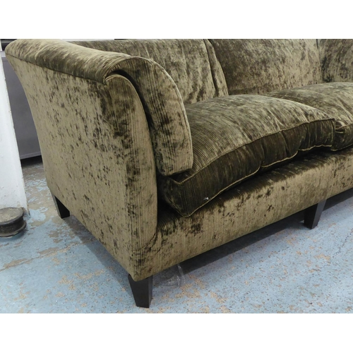 26 - SOFA, contemporary olive green upholstered, with siege de duvet arms and ebonised supports, 210cm W ...
