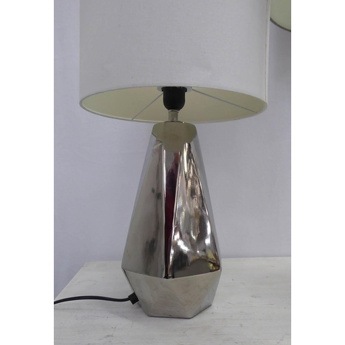 40 - TABLE LAMP, large glass, overall 81cm H including shade and contemporary silvered lamps of geometric...