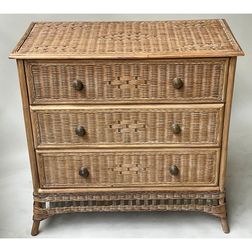 CHEST, vintage bamboo, rattan and cane bound two tone with three long drawers, 87cm H x 88cm W x 44cm D.