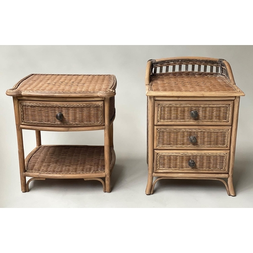 CHEST, bamboo, rattan and cane panelled with three drawers together with a matching one drawer table with undertier, chest 47cm x 43cm x 66cm H, table 54cm x 46cm x 57cm H. (2)