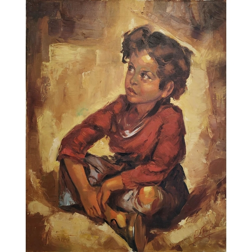 51 - AMEDEO D'ANGELO (Bruno Amadio) 'Seated Boy', oil on canvas, signed, notes verso, 61cm x 50cm....