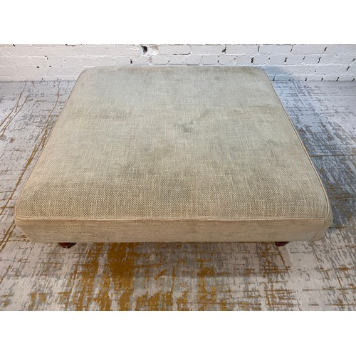 50 - HEARTH STOOL, upholstered in Colefax and Fowler pale aqua Appledore fabric, 32cm H x 101cm x 101cm. ...