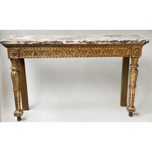 CONSOLE TABLE, 19th century Italian carved giltwood with rectangular brèche violette marble top and carved tapering supports, 137cm W x 38cm D x 84cm H.