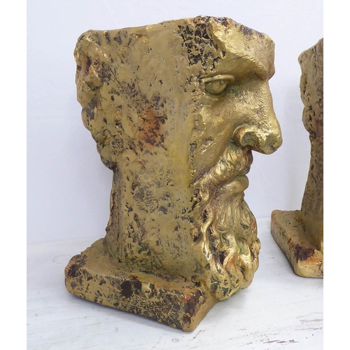 42 - CLASSICAL BEARDED GENTLEMAN PLANTERS, a pair, 39cm H. (2)...