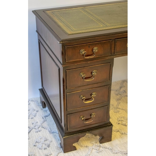 77 - PEDESTAL DESK, Georgian style mahogany with green leather top above eight drawers, 74cm H x 122cm W ...