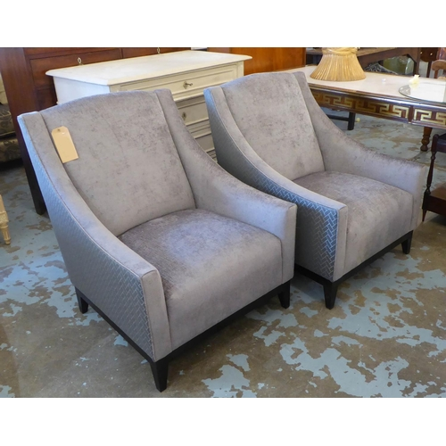 26 - ARMCHAIRS, a pair, contemporary design, grey fabric upholstered with patterned exterior, 73cm W. (2)...
