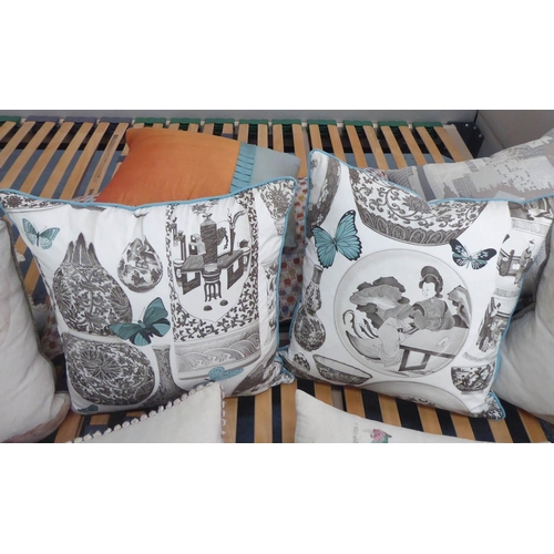 12 - CUSHIONS, a large quantity of various including Voyage Maison and Colefax & Fowler etc, 50cm x 50cm ...
