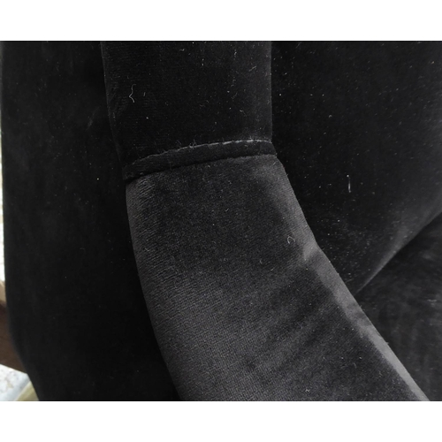 28 - ARMCHAIRS, a pair, 1950's Italian style, black velvet finish, 80cm W. (2)...