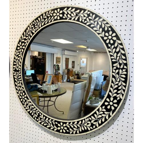 52 - WALL MIRRORS, a pair, Moorish design inlaid frames, 61cm D. (2)...