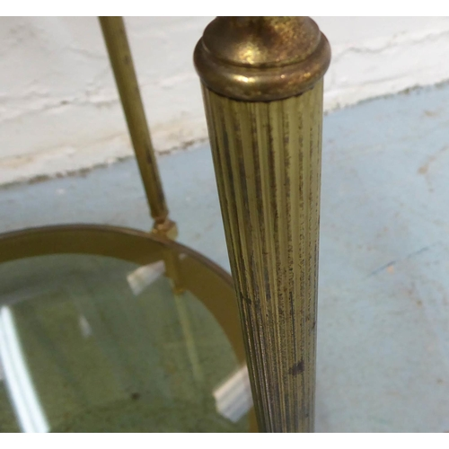 64 - OCCASIONAL TABLE, brass and glass with a tray top, 53cm x 61cm H....