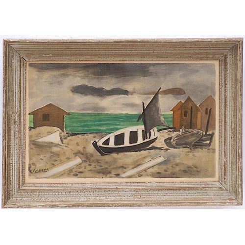 GEORGES BRAQUE 'Varangeville', pochoir, edition 970, printed by Jacomet, signed in the plate, suite: Douze contemporains, 1959, 29cm x 45cm, framed and glazed.